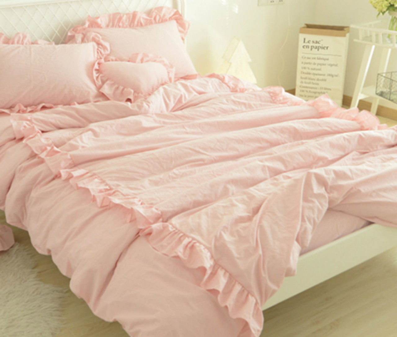 Pink Duvet Cover Blush Pink Linen Duvet Cover With 2 Rows Of Ruffles Stunning Style