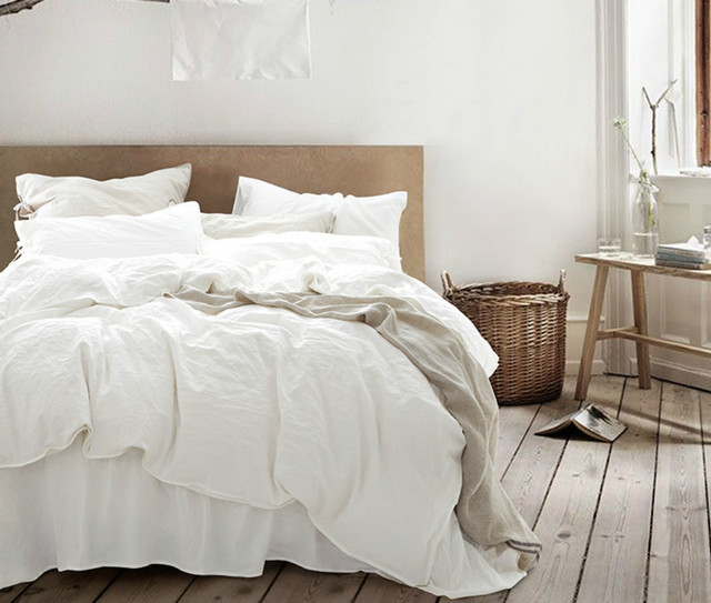 White Duvet Cover Natural Linen Custom Size Queen King