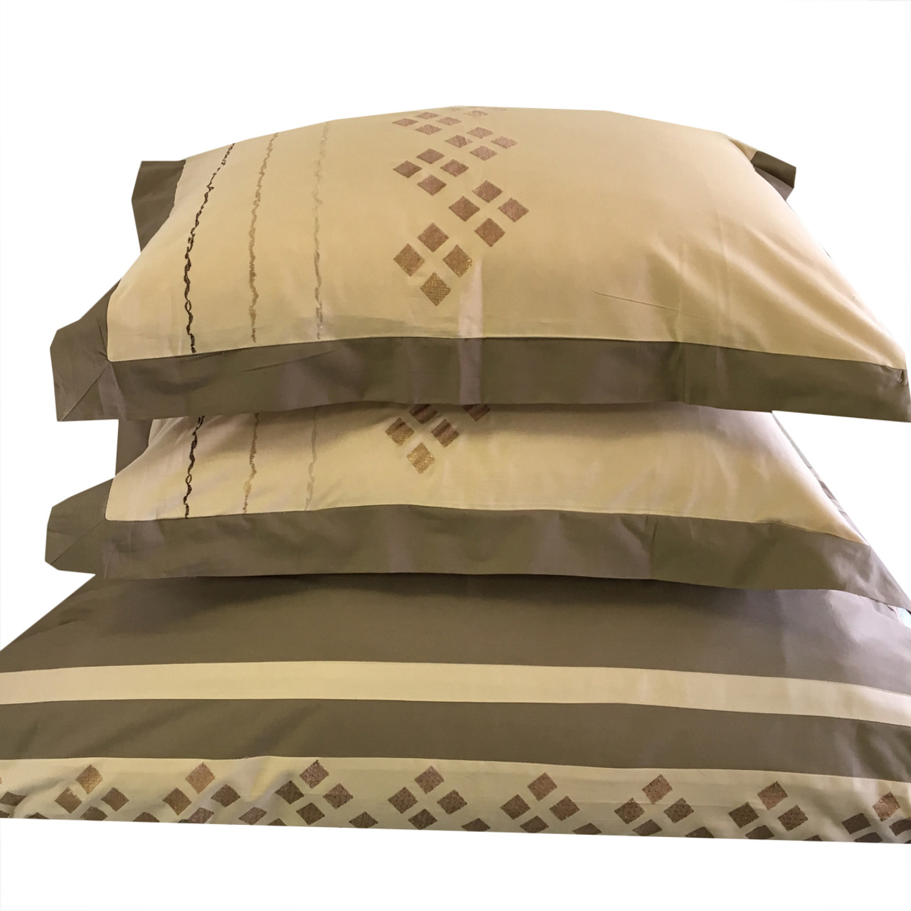 Embroidered Lakewood 3pc Duvet Set 100 Combed Cotton Duvet Cover Set