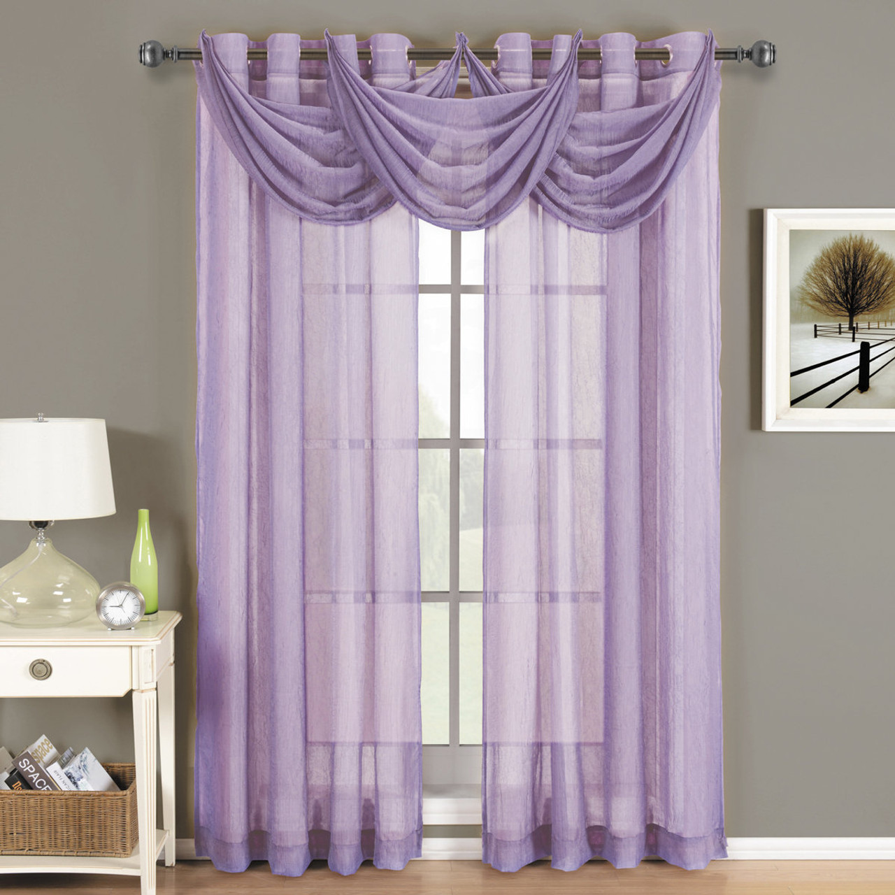 Lavender Sheer Curtains Abri Grommet Crushed Sheer Curtain Panel Single