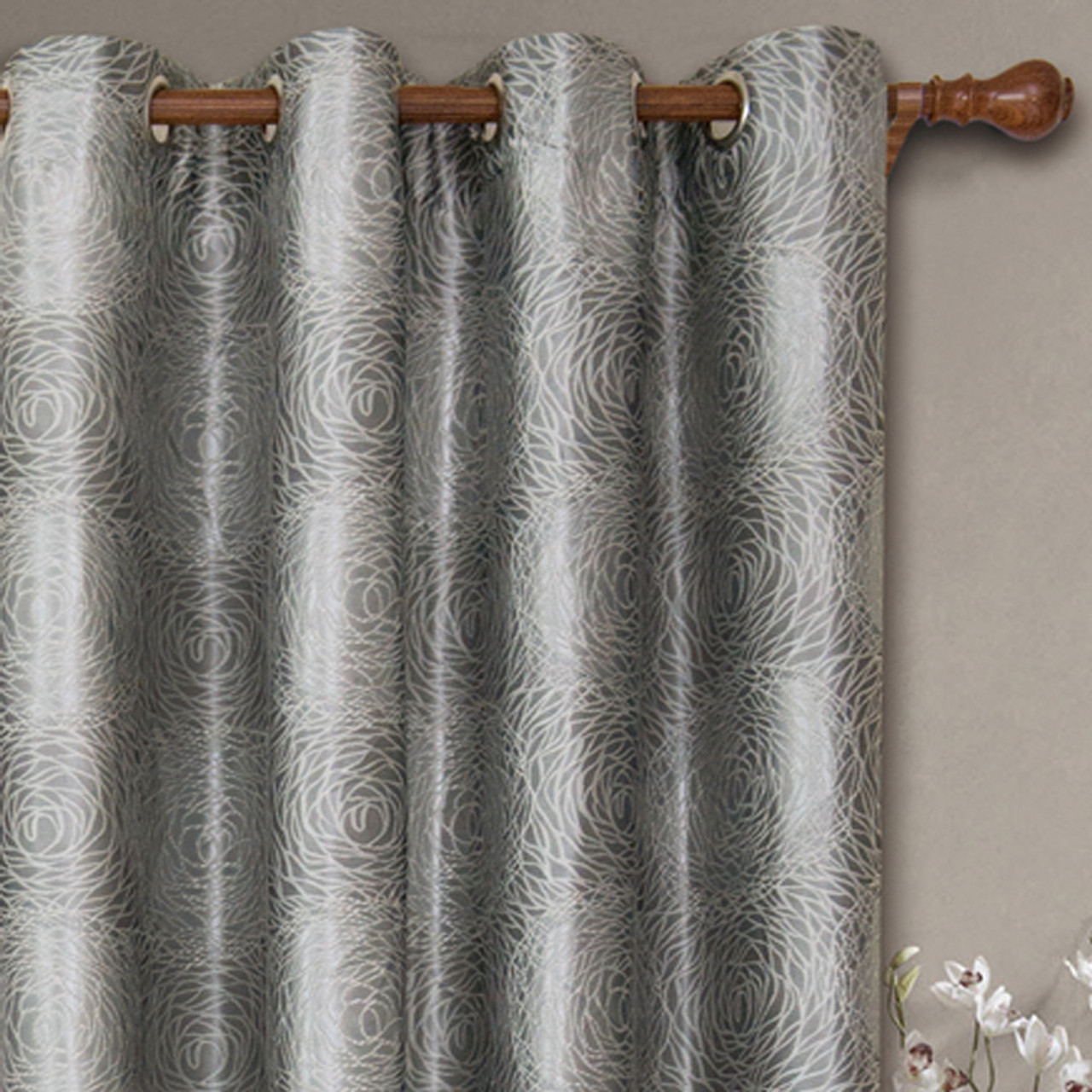 104 Inch Curtains Lexington Circle Swirl Jacquard Curtains Top Grommet Panels Set Of 2