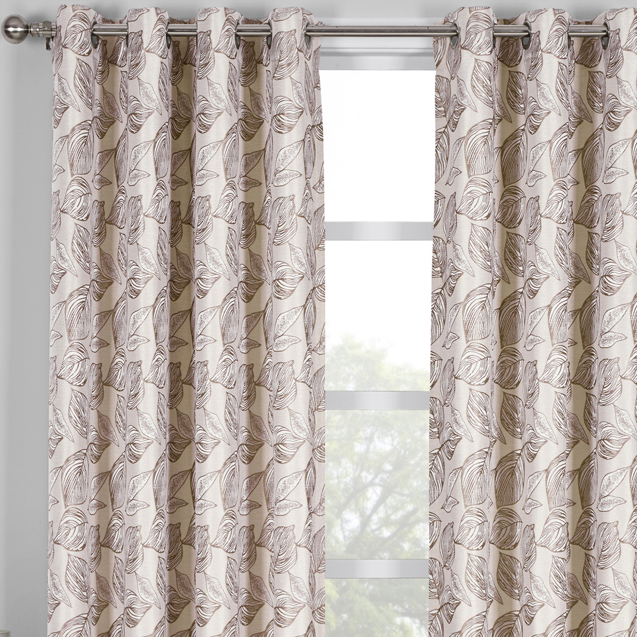 Jacquard Curtains Catalina Leaf Swirl Jacquard Curtain Panels Grommet Top Set Of 2
