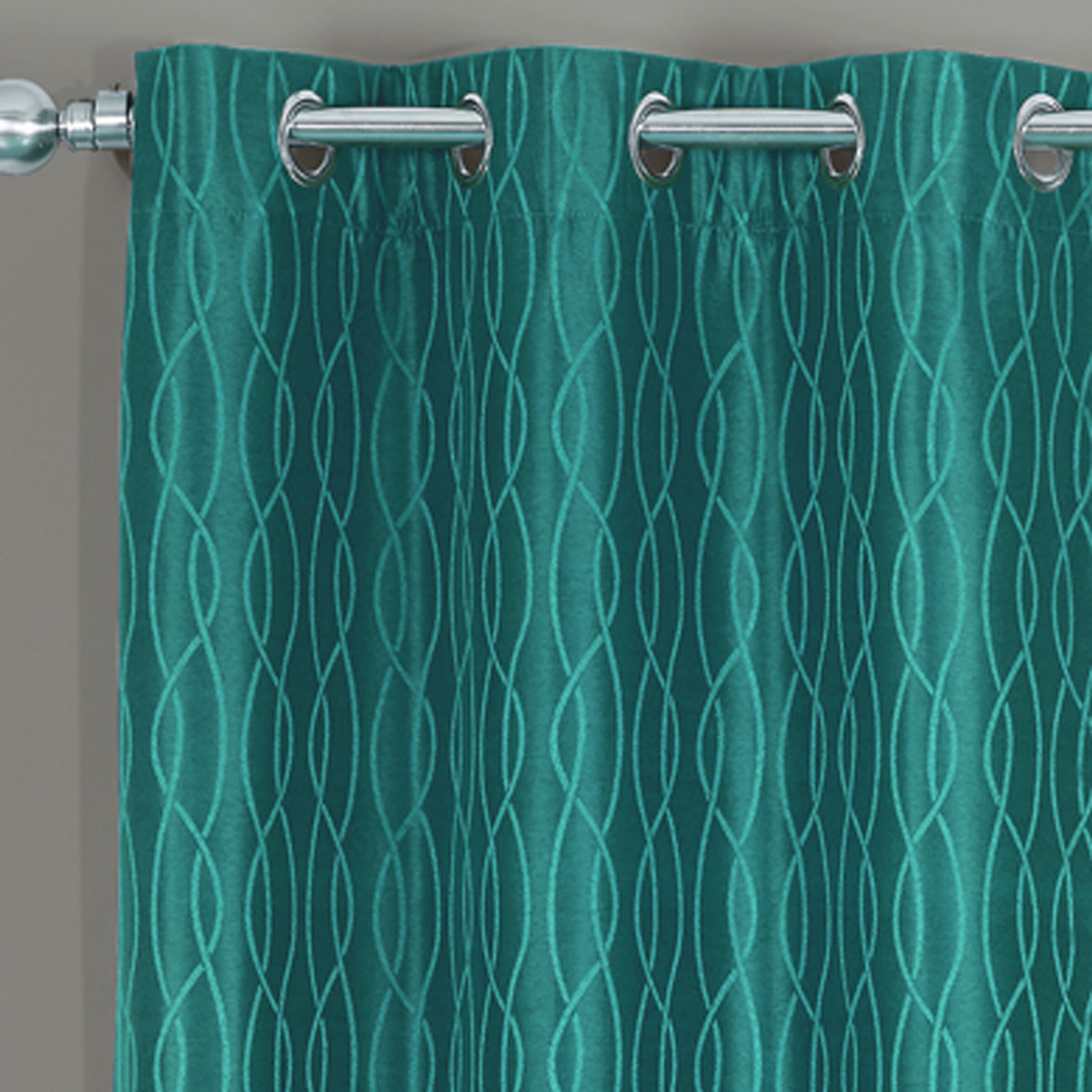 Teal Blackout Curtains Voyage Jacquard Thermal Blackout Grommets Curtain Panels Set Of 2 In 63 84 96 Or 108 Inch Long
