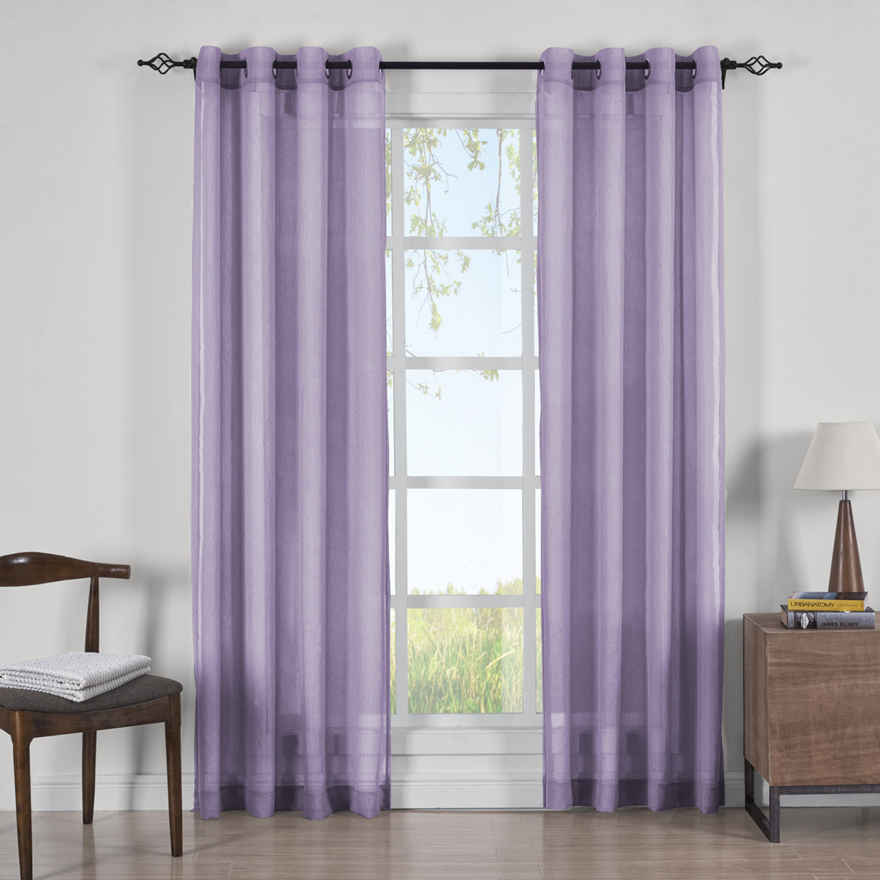 Lavender Sheer Curtains Abri Grommet Crushed Sheer Curtain Panels Set Of 2