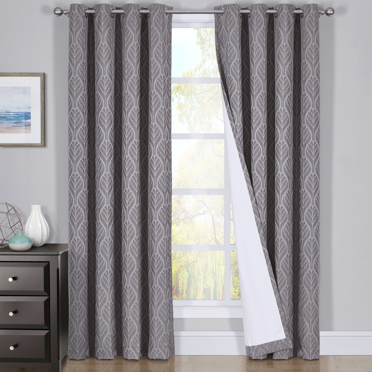 Jacquard Curtains Pair Hilton Blackout Curtains Jacquard Thermal Insulated Set Of 2 Panels