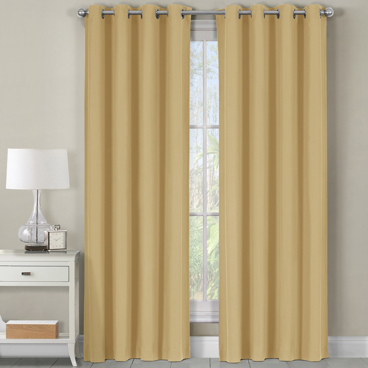 Cotton Curtain Panels Beige Luxor Heavyweight 100 Cotton Room Darkening 54