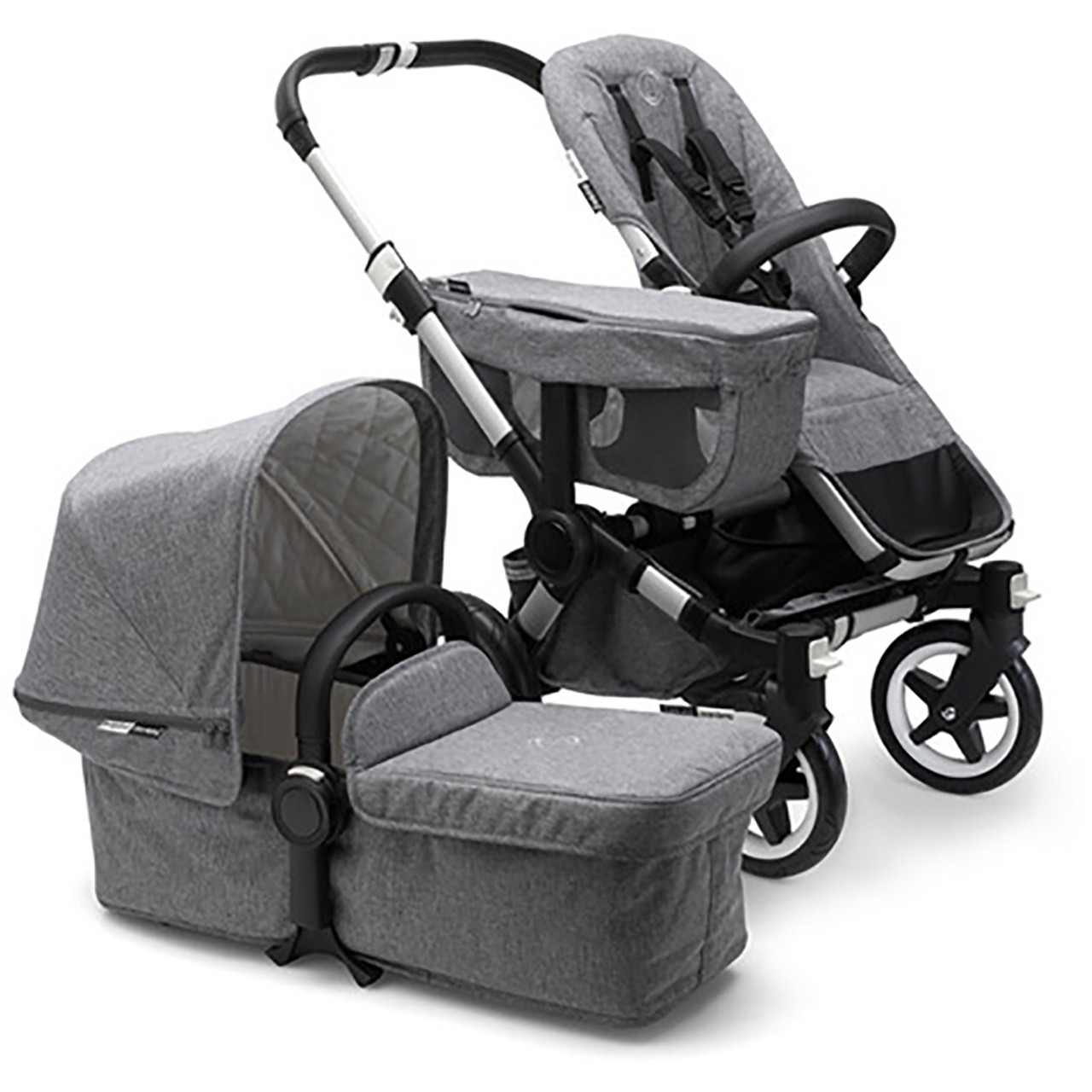 Double Pushchair Bugaboo Bugaboo Donkey2 Complete Classic Collection Grey Melange Aluminium
