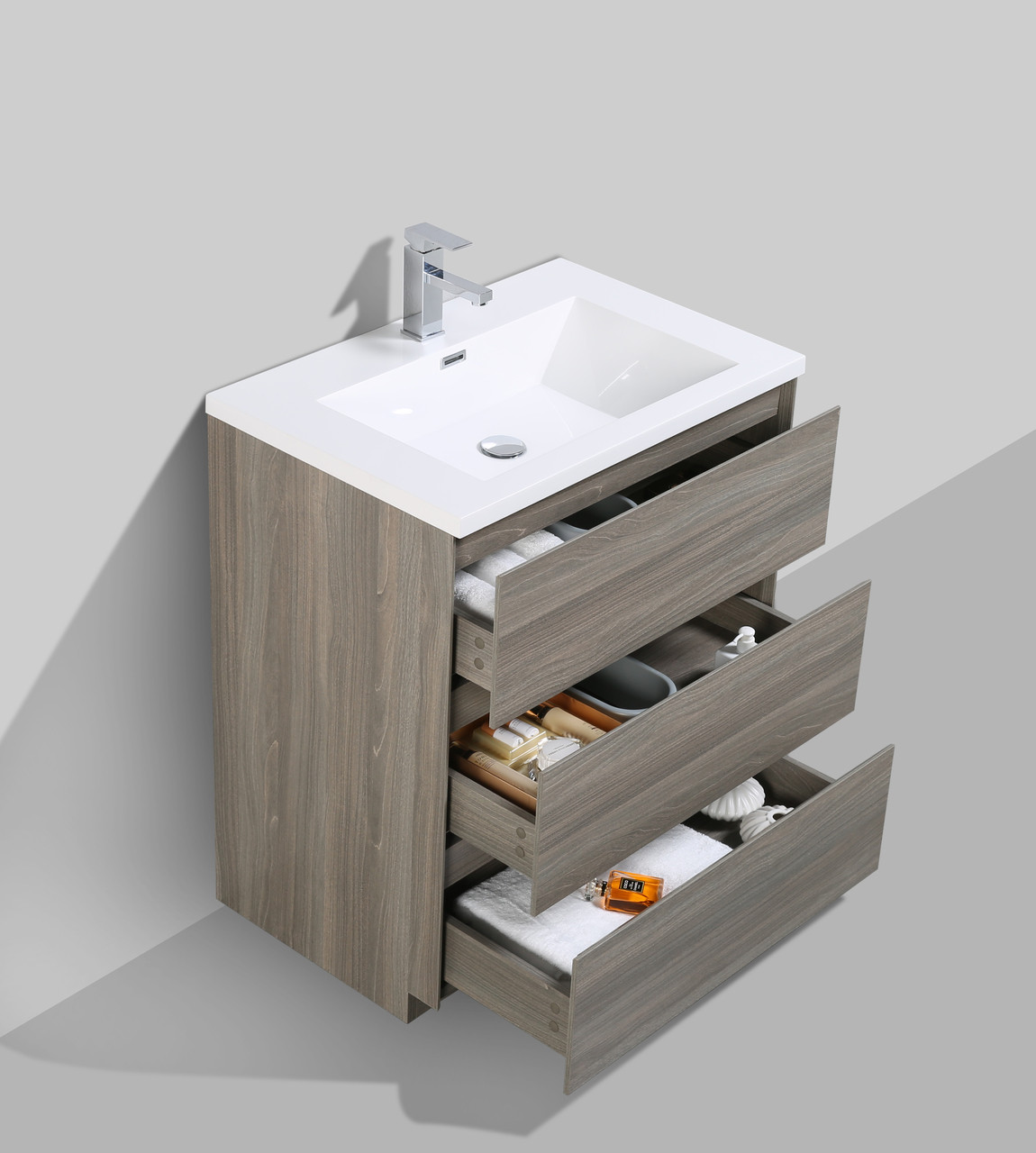 30 Vanity With Drawers Moa 30 Mayple Grey Modern Bathroom Vanity W 3 Drawers And Acrylic Sink