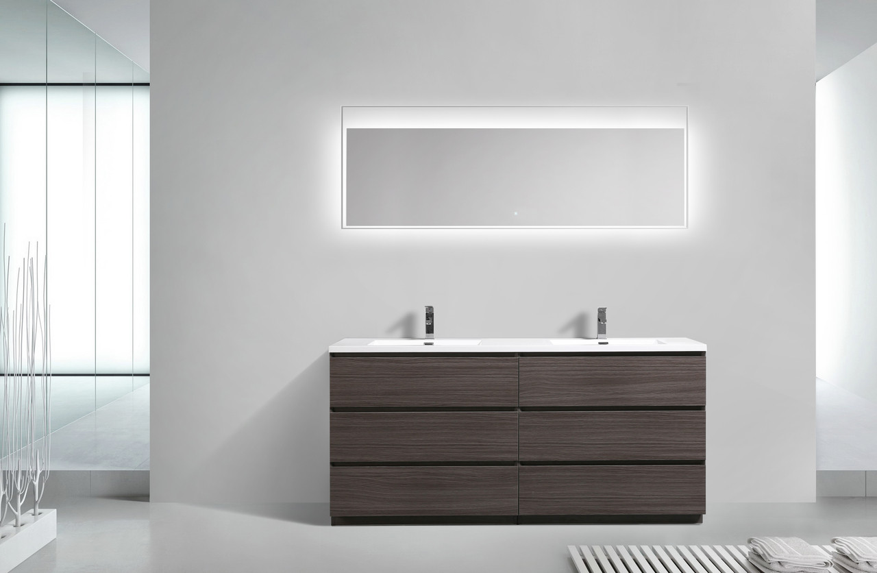 Bathroom Vanity 72 Double Sink Moa 72 Double Sink Dark Grey Oak Modern Bathroom Vanity W 6 Drawers And Acrylic Sink