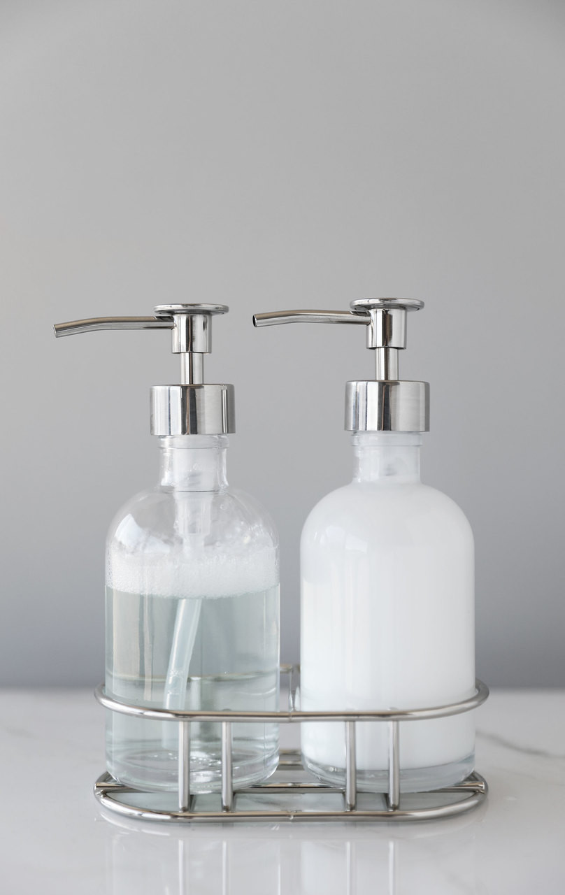 Unique Hand Soap Dispenser Perfect Pair Glass Clear Soap Dispenser Set With Chrome Caddy