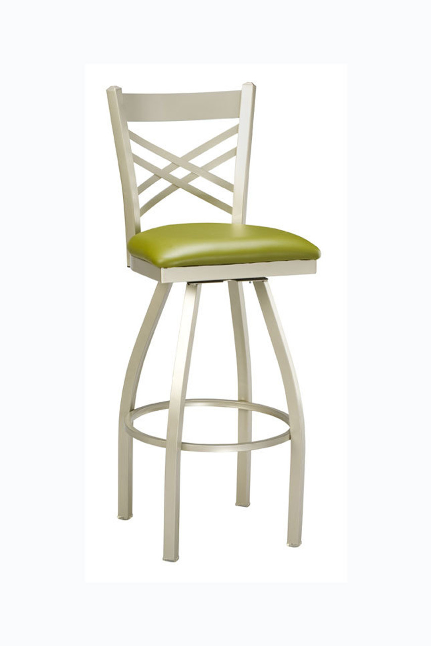 X Back Commercial Swivel Metal Bar Stool W Upholstered Or Wood Seat From Regal Seating
