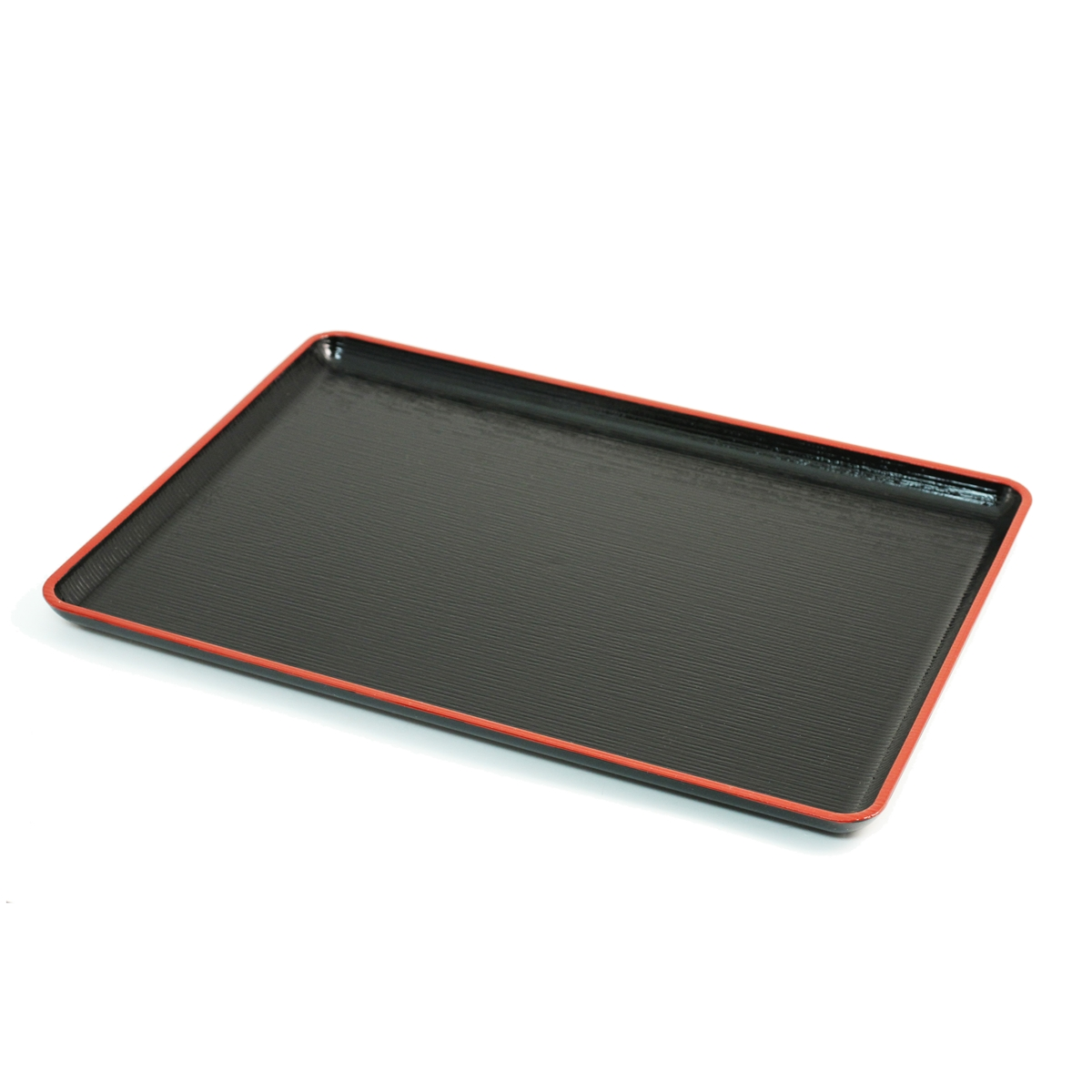 Black Serving Tray Non Slip Black Rectangular Tray With Red Trim Medium 13 23