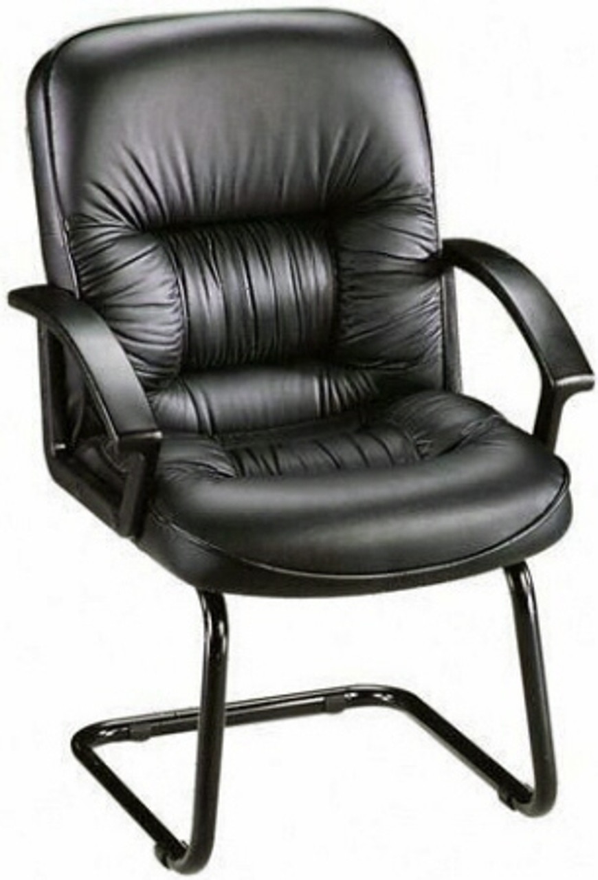 Lorell Leather Guest Chair With Sled Base 60114