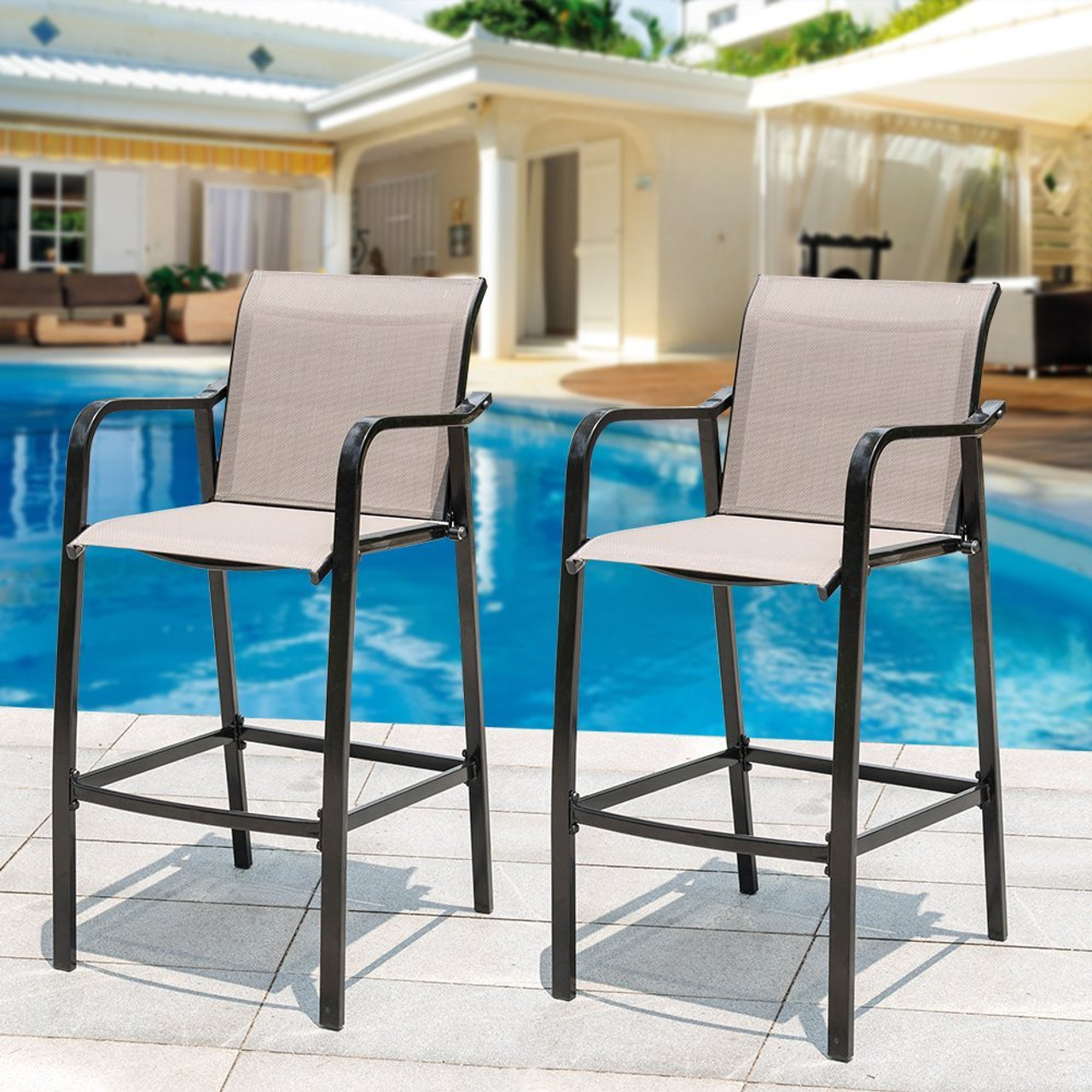 Fabric Counter Height Bar Stools Sundale Outdoor Counter Height Bar Stool All Weather Patio Furniture With Quick Dry Textilene Fabric 2 Pcs Set Brown
