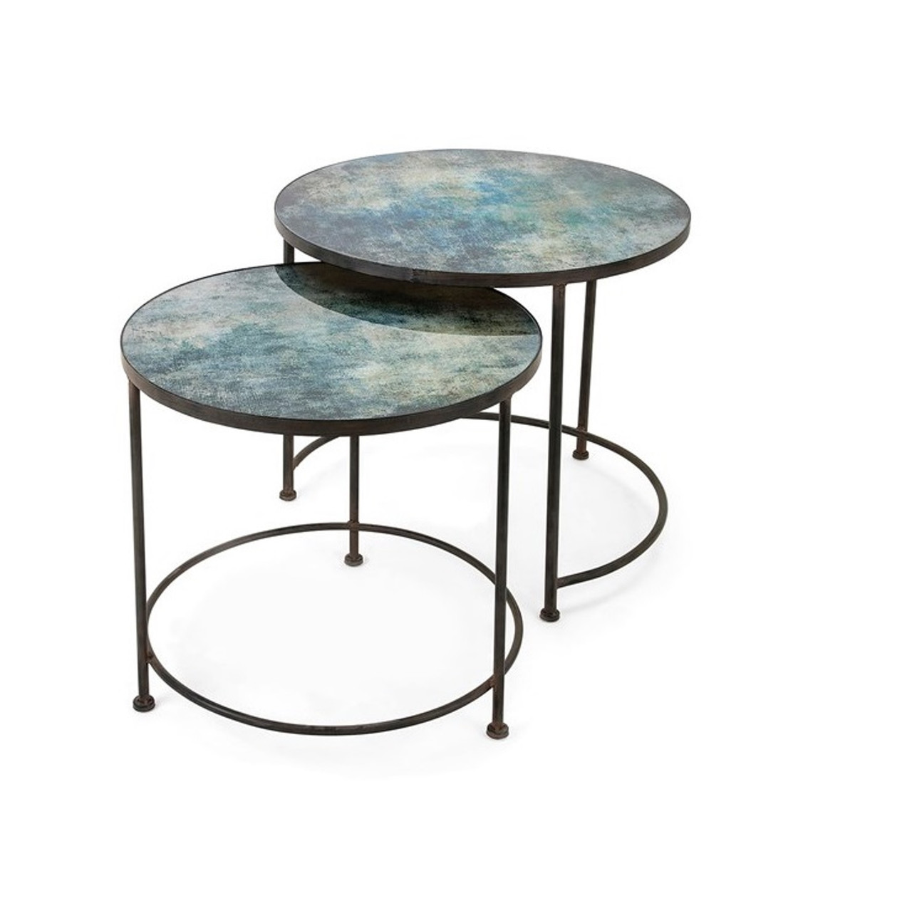 Glass Nesting Tables Set Of 2 Teal Blue Paxton Metal And Printed Glass Decorative Nesting Tables 33