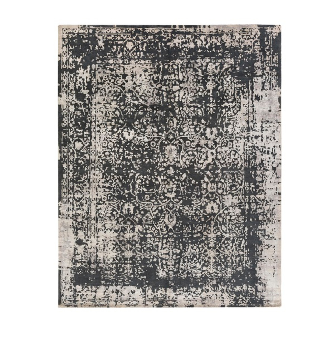 9 X 12 Enchanted Mystique Smoky Black Ash Gray Hand Knotted Area Throw Rug Christmas Central