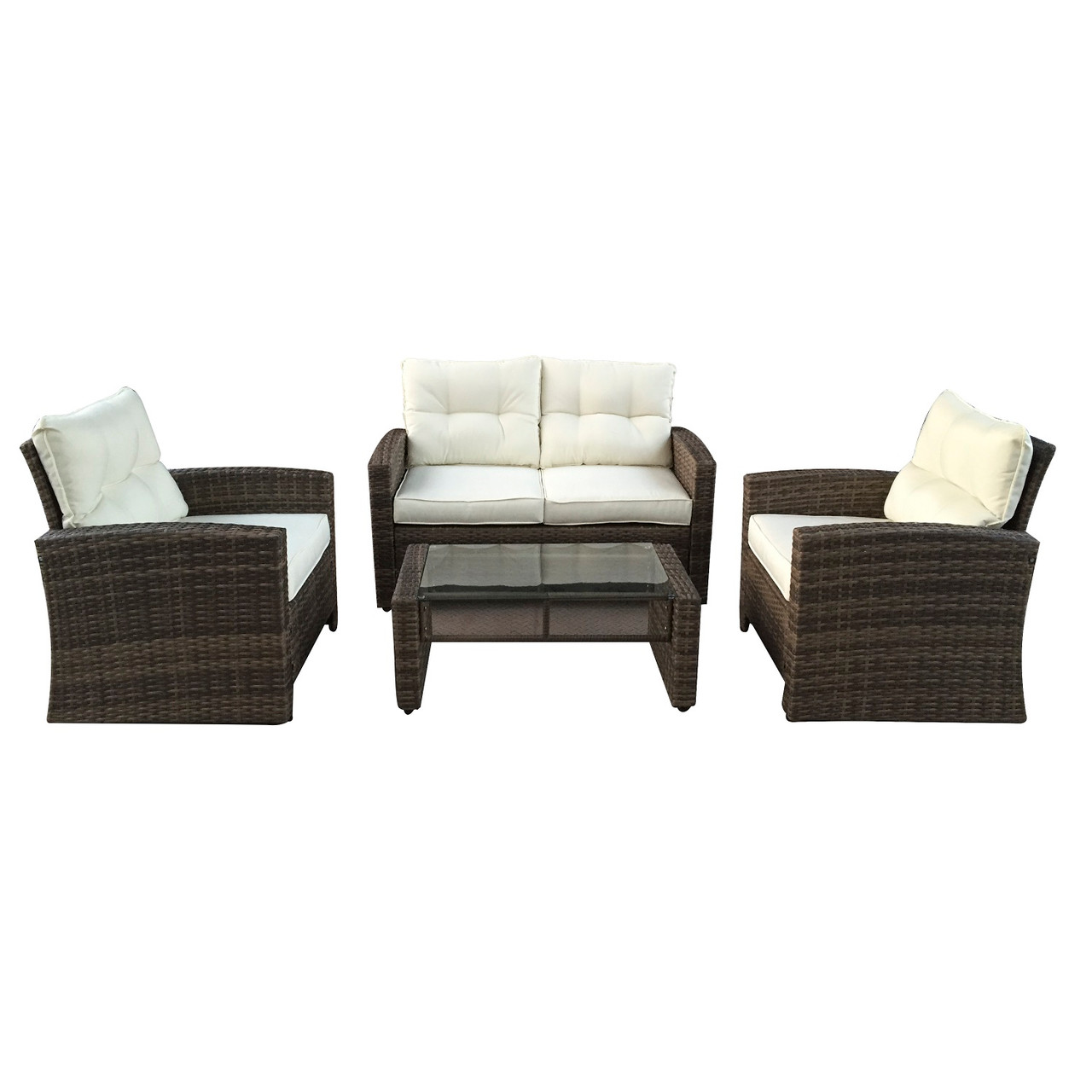 4pc Brown Beige Two Tone Rattan Outdoor Patio Furniture Set With Cushions 50