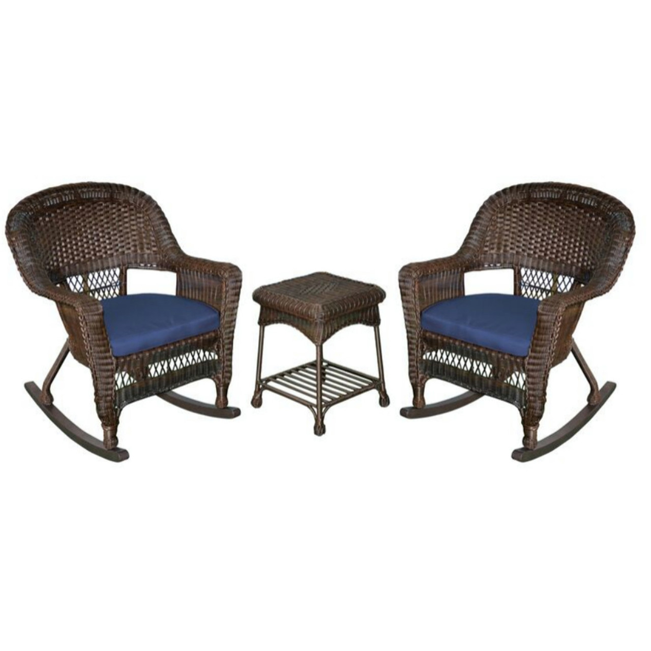 Patio Rocker Chairs 3 Piece Espresso Wicker Patio Rocker Chairs Table Furniture Set Blue Cushions 31556120