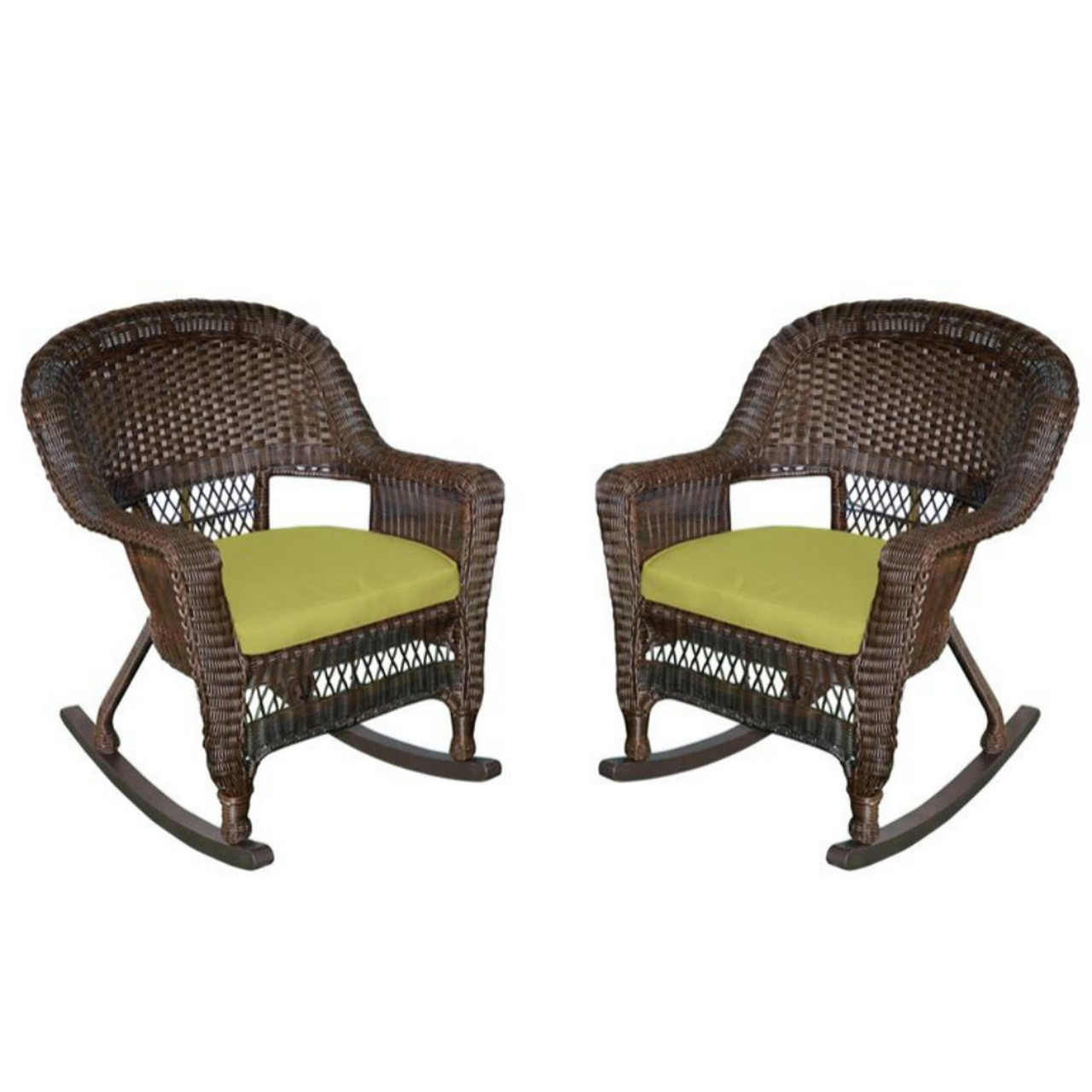 Patio Rocker Chairs Set Of 2 Espresso Brown Resin Wicker Outdoor Patio Rocker Chairs Green Cushions 31556116