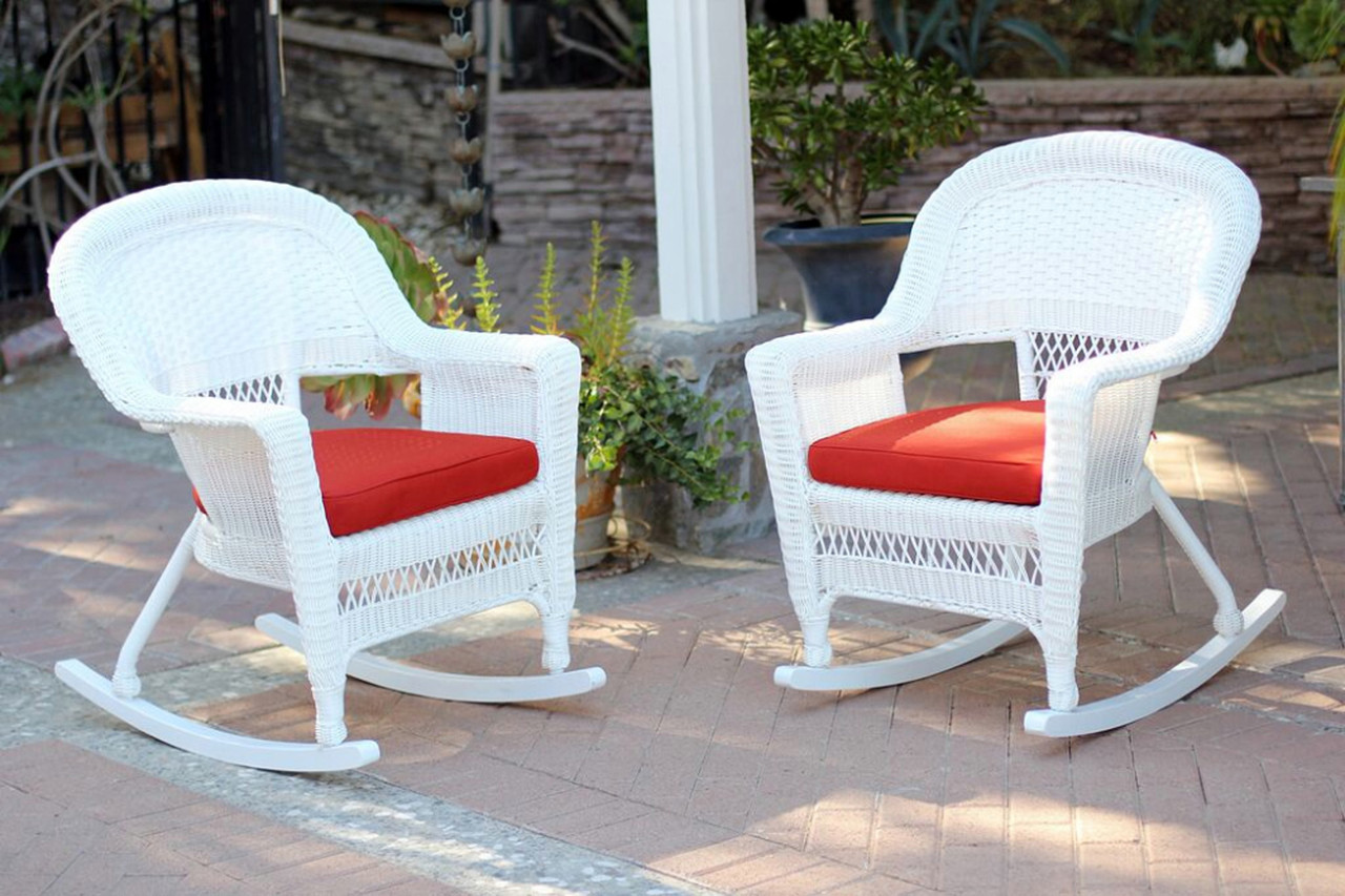 Patio Rocker Chairs 2 Piece Ariel White Resin Wicker Patio Rocker Chairs Furniture Set Red Cushions 31556321