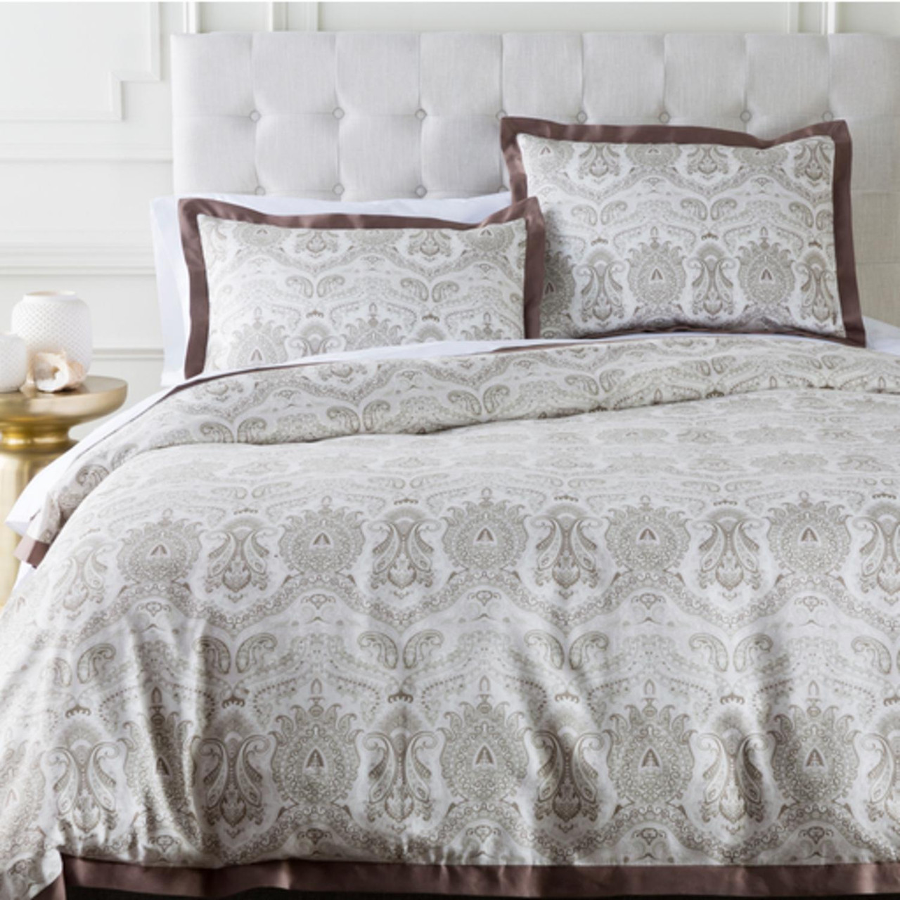Damask Duvet Brown And Grayish White Damask Cotton King Ca King Duvet Cover 31502053