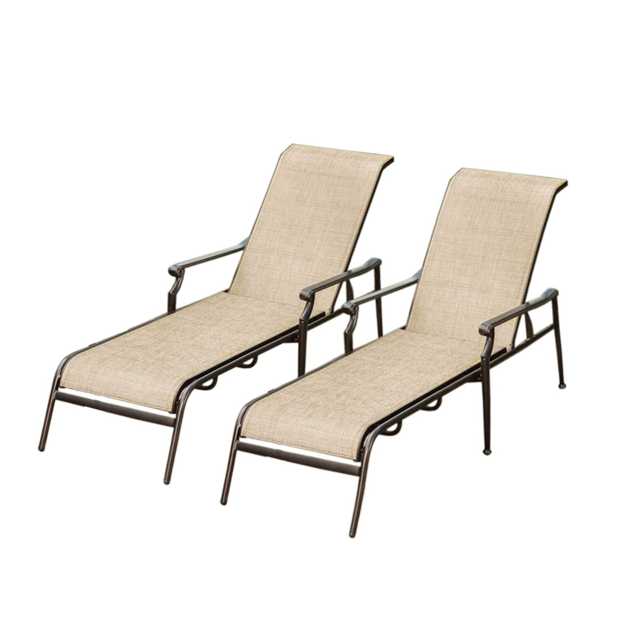 Pool Chaise Lounge Chairs Set Of 2 Beige And Brown Outdoor Aluminum Reclining Patio Chaise Lounge Chairs 32738529