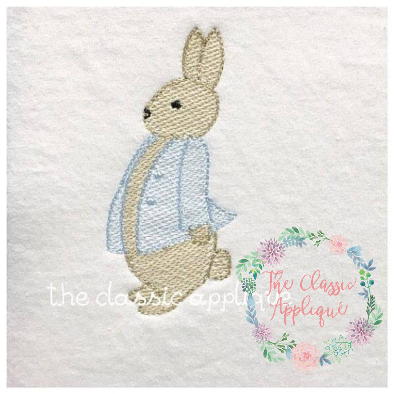 Applique Classe 2 Combined Vintage Stitch And Sketch Fill Bunny With Jacket