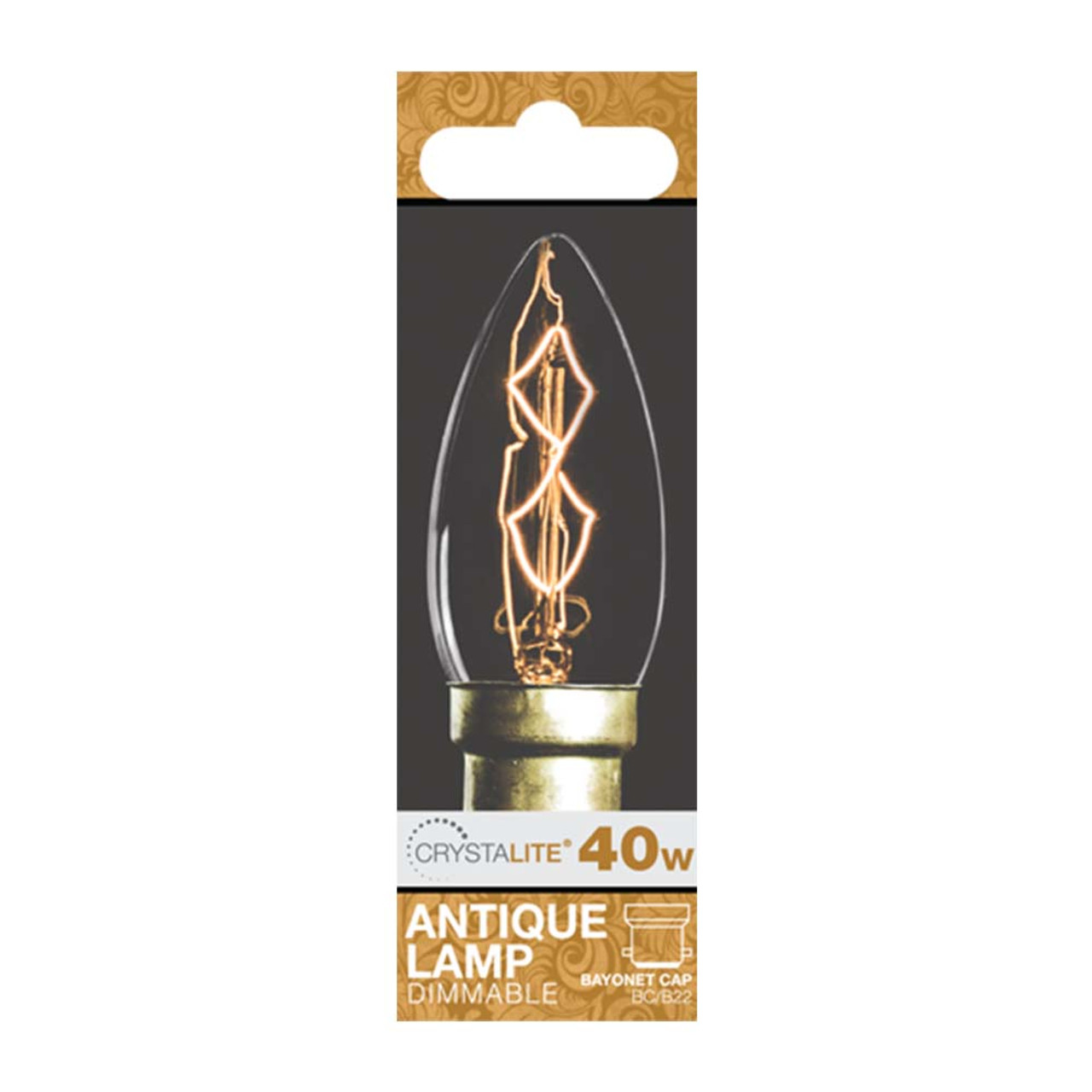 Lampe 40w 40w Crystalite Antique Candle Bc Clear Z Shape Filament 3170646