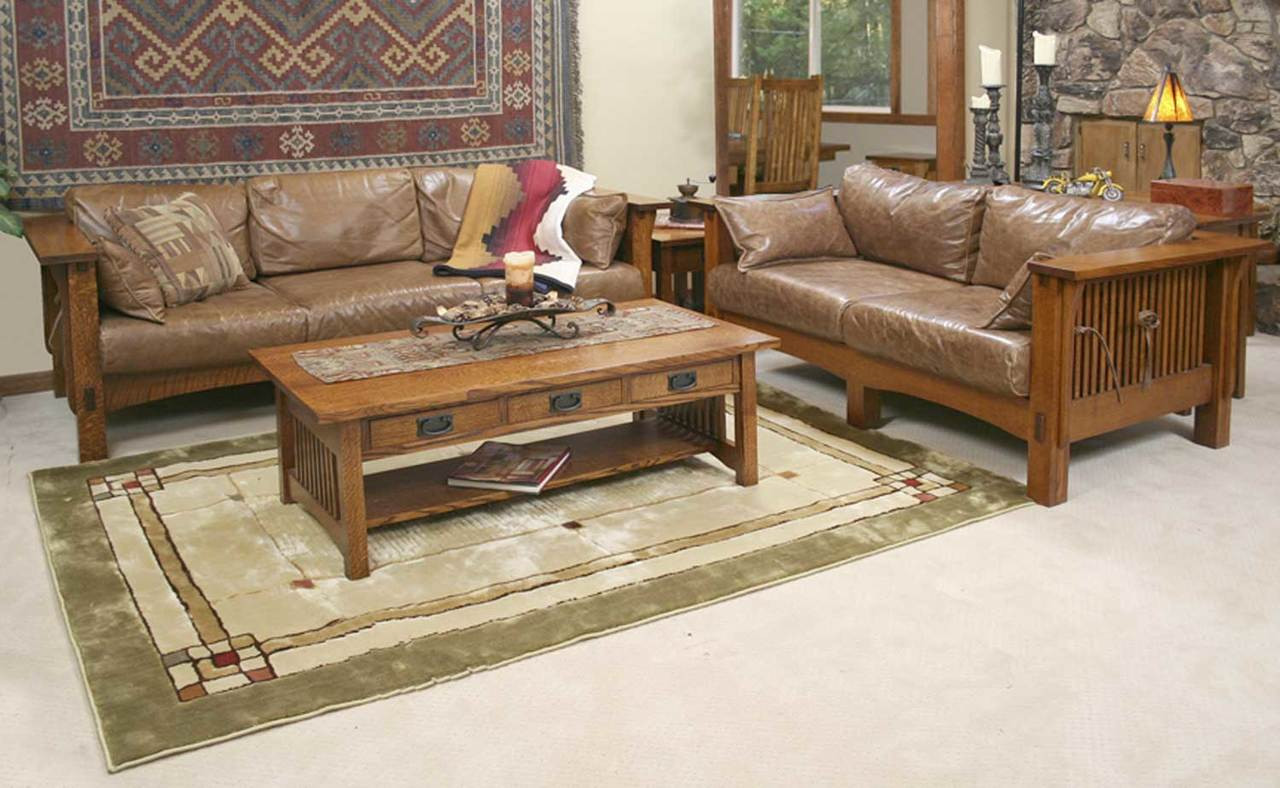 American Sofa Images American Mission Sofa And Loveseat And Coffee Table Combo Am Tc