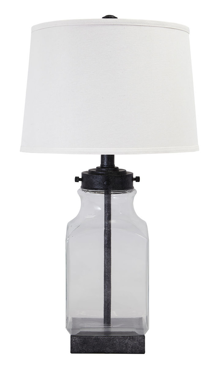 Glas Regalboden Sharolyn Transparent Silver Finish Glass Table Lamp
