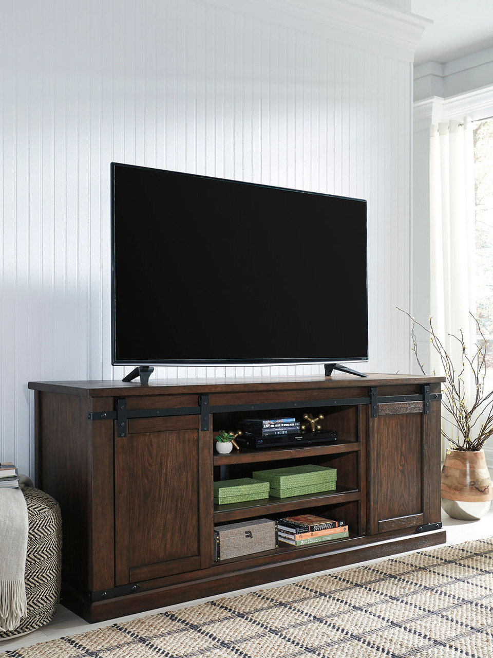 Regal Led Panel Budmore Rustic Brown Extra Large Tv Stand