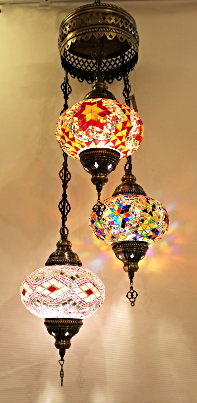 Glass Lamp Ceiling Mosaic Ceiling Lamp 3 Lg Globes