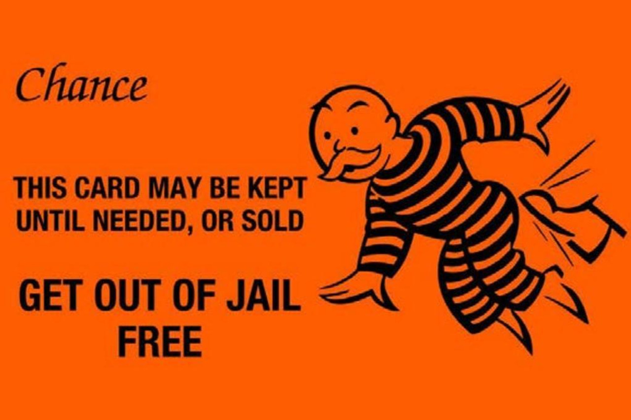 Monopoly Game How To Get Out Of Jail Monopoly Chance Get Out Of Jail Free Card Funny Retro