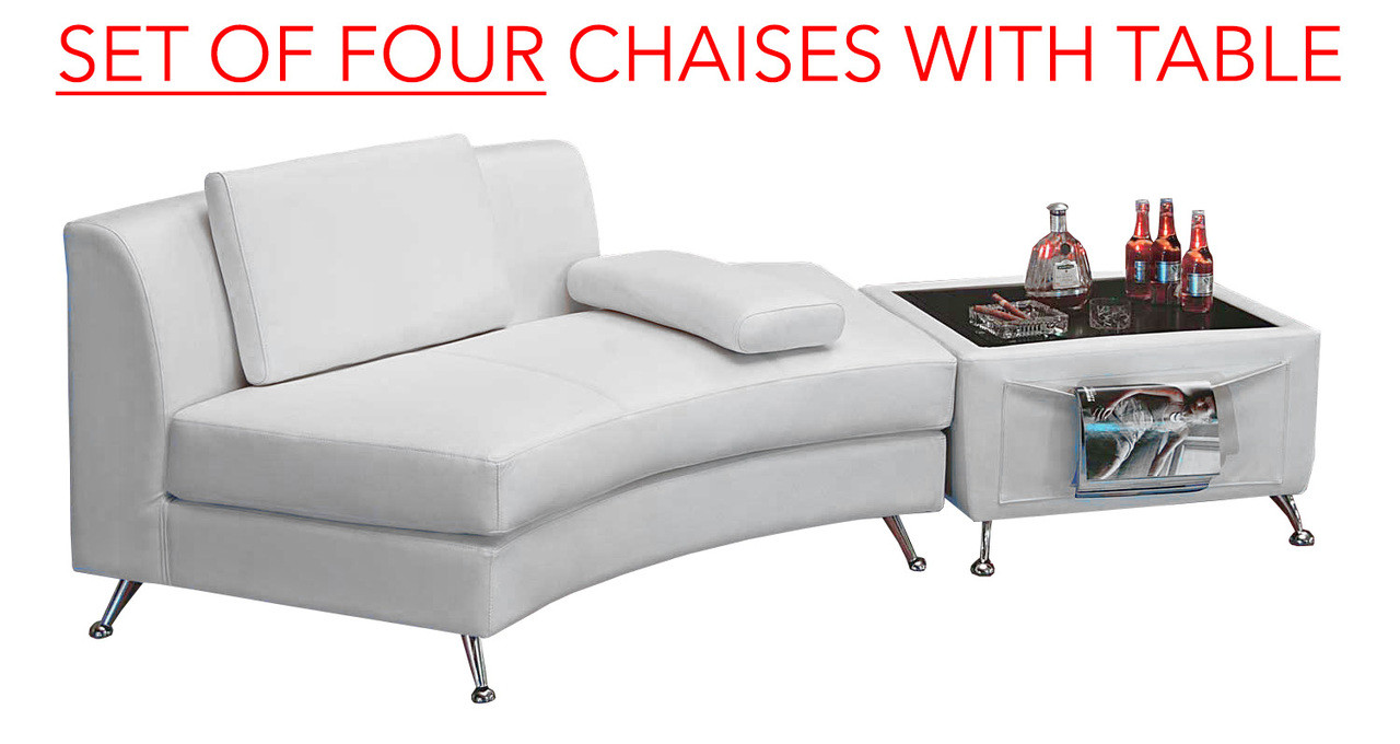 Chaises Et Tables De Restaurant Set Of Four 8004 White Open Back Curved Chaise With Mini Bar Table