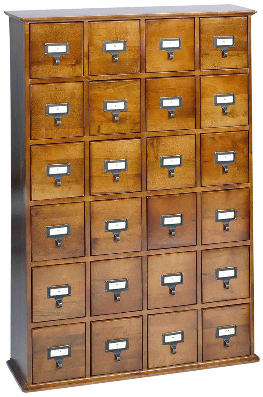 Cupboard Drawers Hardwood Library 192 Dvd 456 Cd Storage Drawer Cabinet Walnut