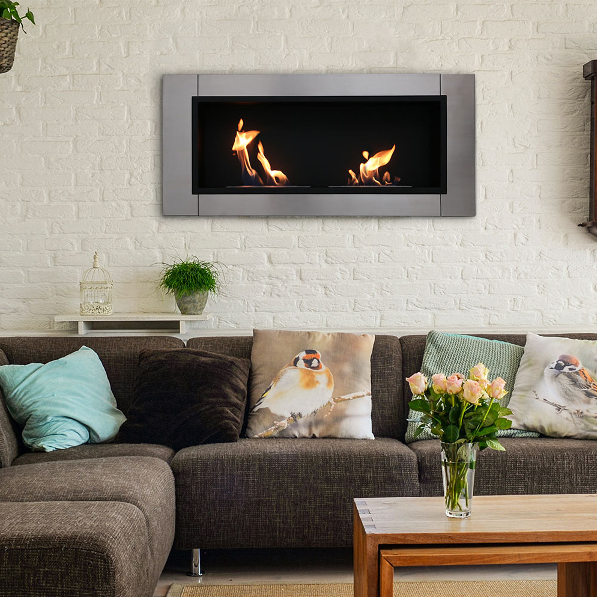 Ethanol Fireplaces Reviews Sunnydaze Scalda Ventless Wall Mounted Bio Ethanol Fireplace 43 Inch