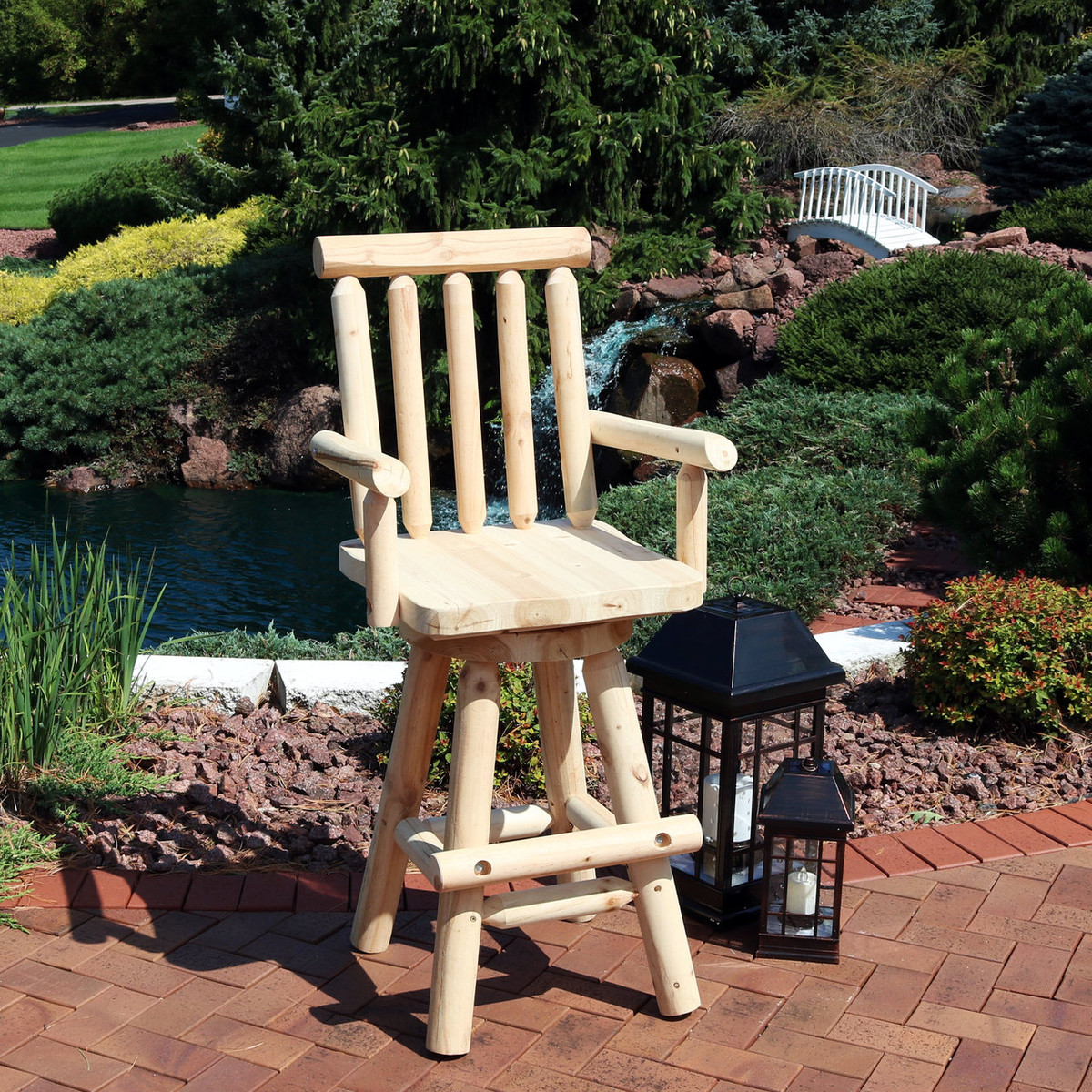 Rustic Style Bar Sunnydaze Rustic Bar Stool Log Cabin Style Unfinished Wood