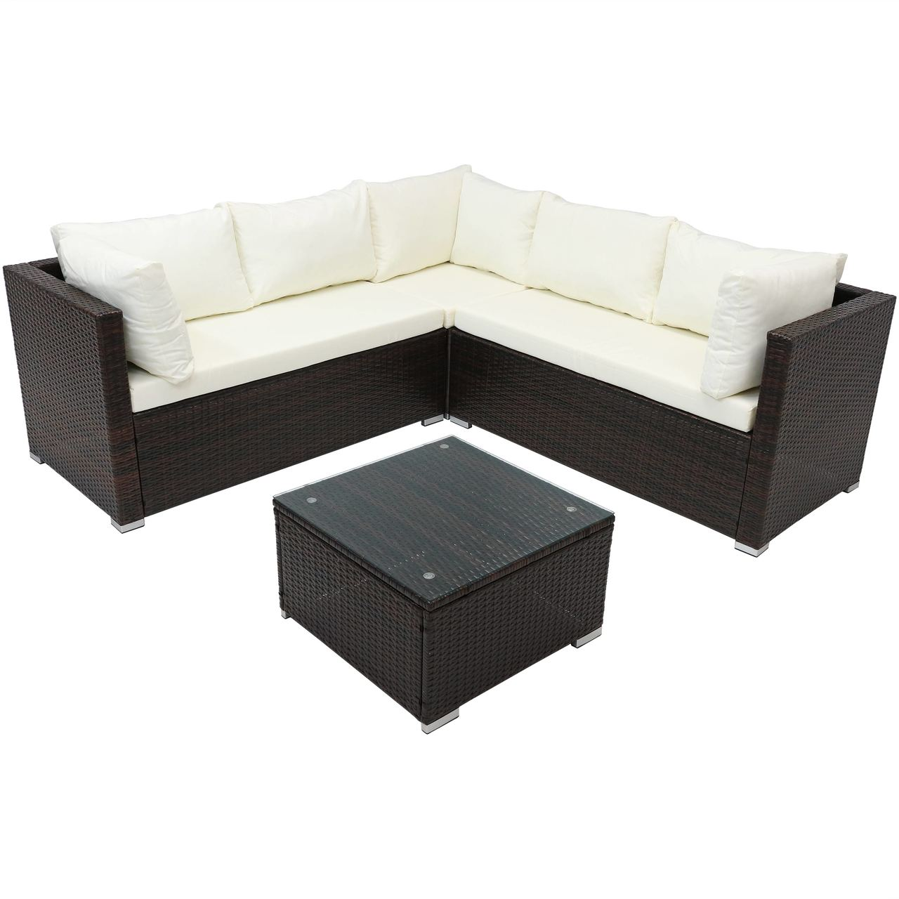 Sofa Rattan Sunnydaze Port Laoise Rattan Sectional Sofa Patio Furniture Set With Cushions