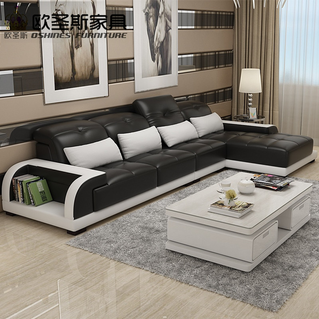 Cheers Barcelona Black And Big White Stitching L Shaped Modern Design Sectional Soft Cow Leather Sofa Set Living Room Furniture Onshopdeals Com
