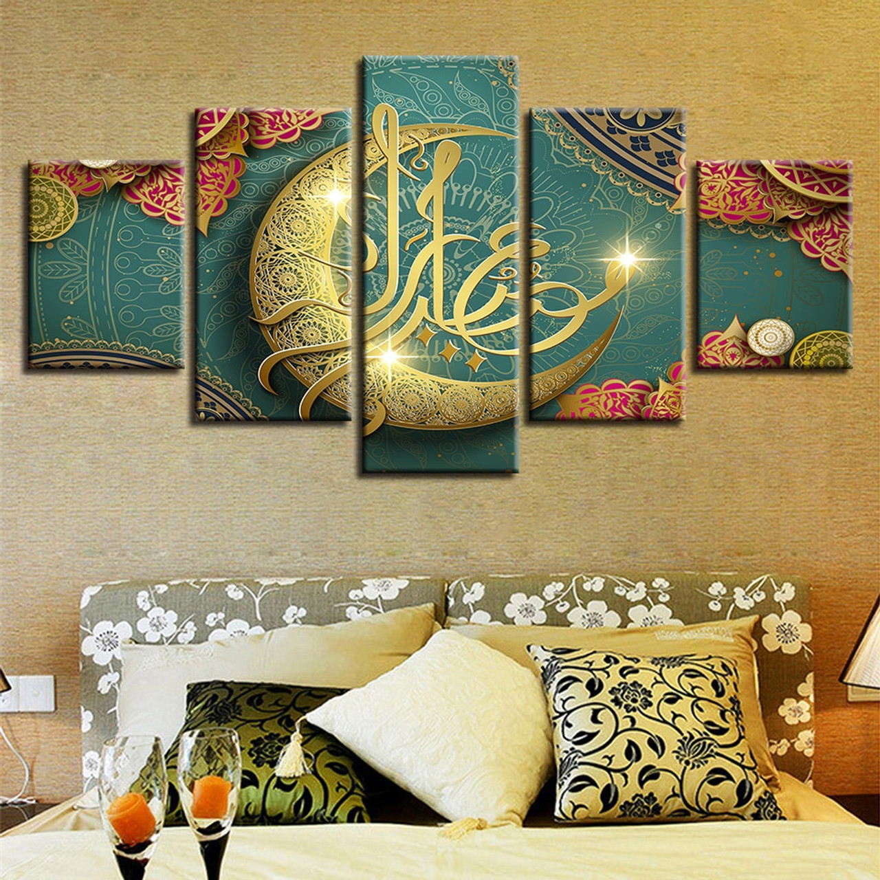 Living Room Paintings Hd Printed Decoration Living Room Paintings 5 Pieces Islamic Muslim Mosque Ramadan Poster Canvas Pictures Frame Modular Wall Art