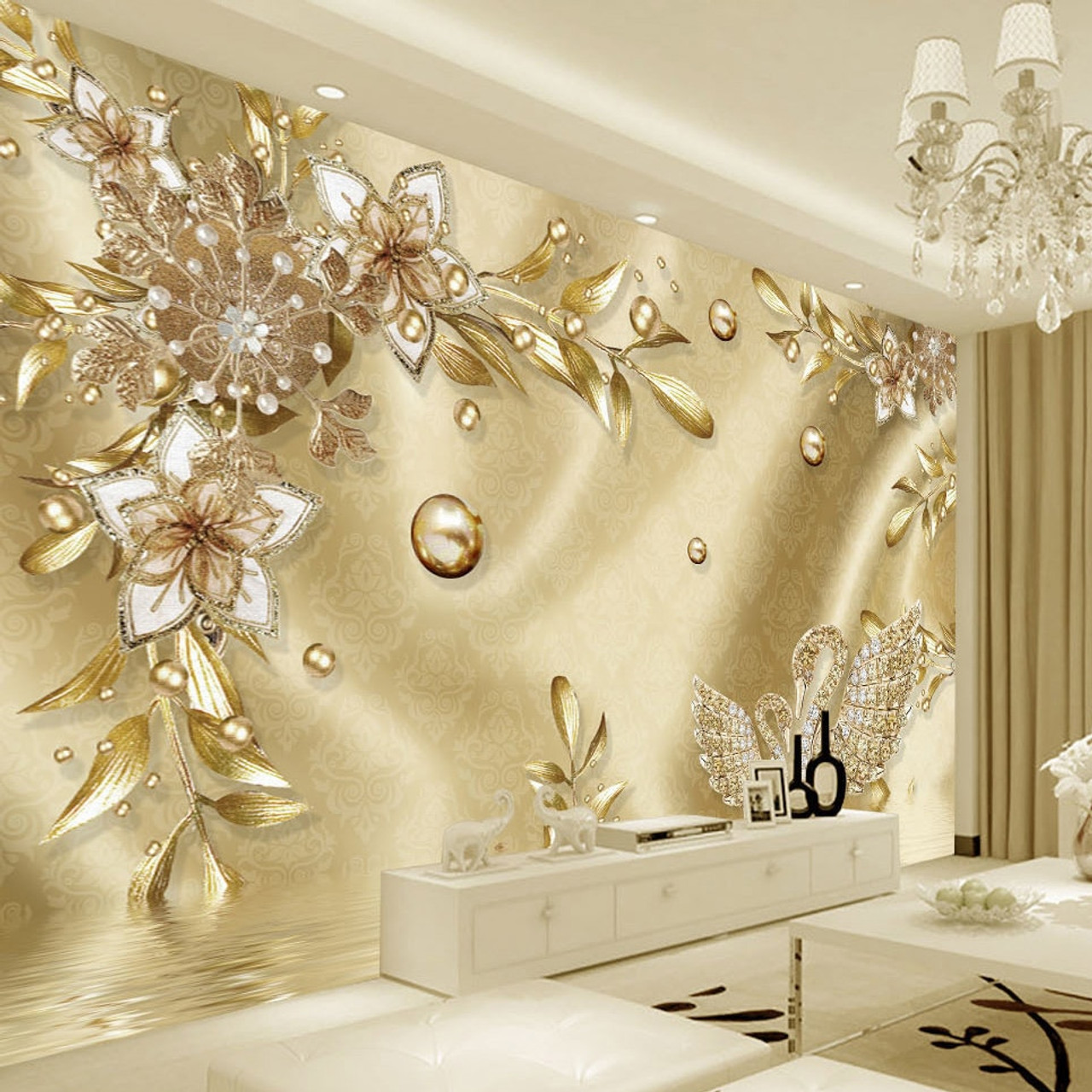 Decoration 3d Murale European Style Luxury Golden 3d Flower Jewelry Damascus Pattern Background Decoration Mural Wallpaper For Living Room Home Decor