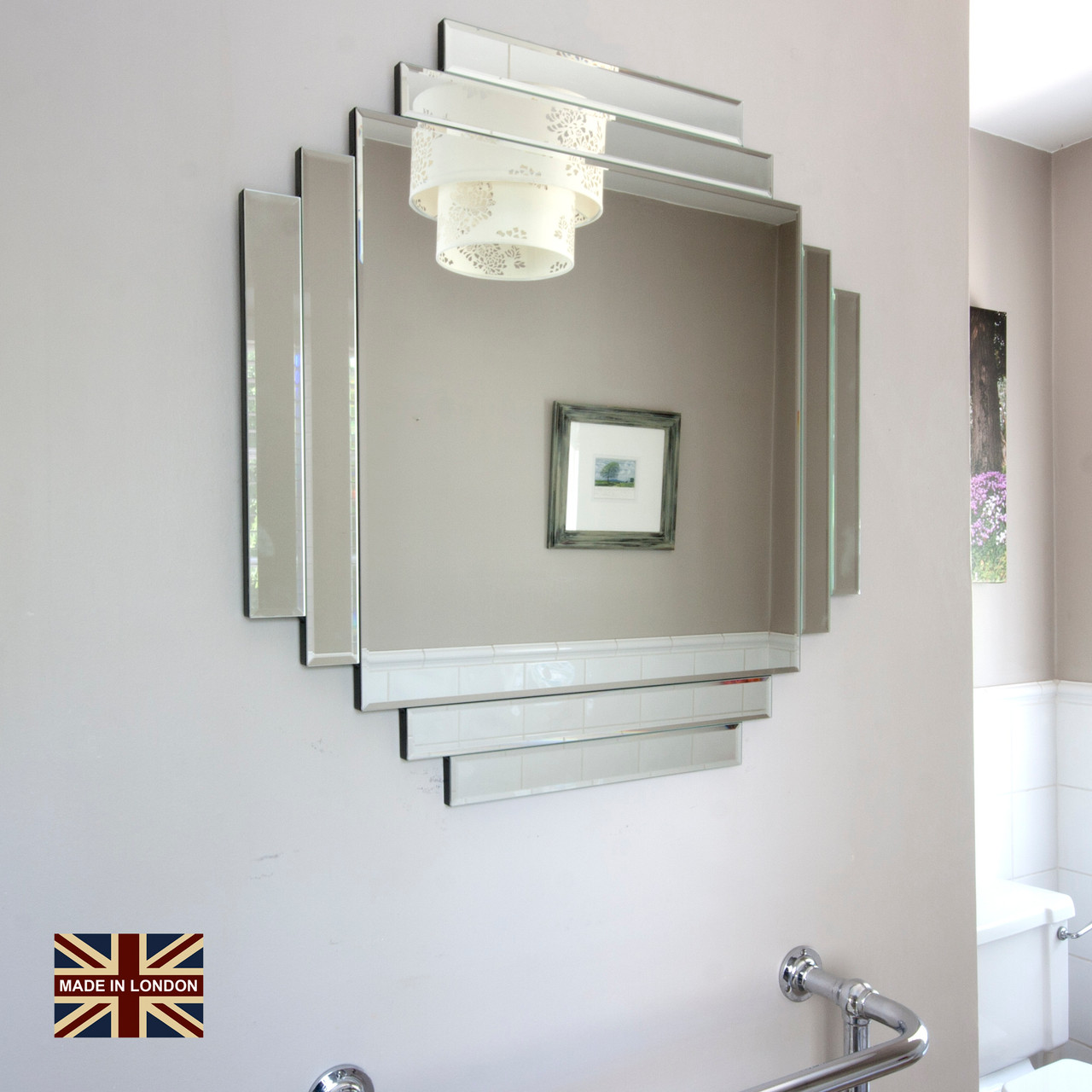 Art Deco Style Mirror Uk Made Art Deco Glass Mirror
