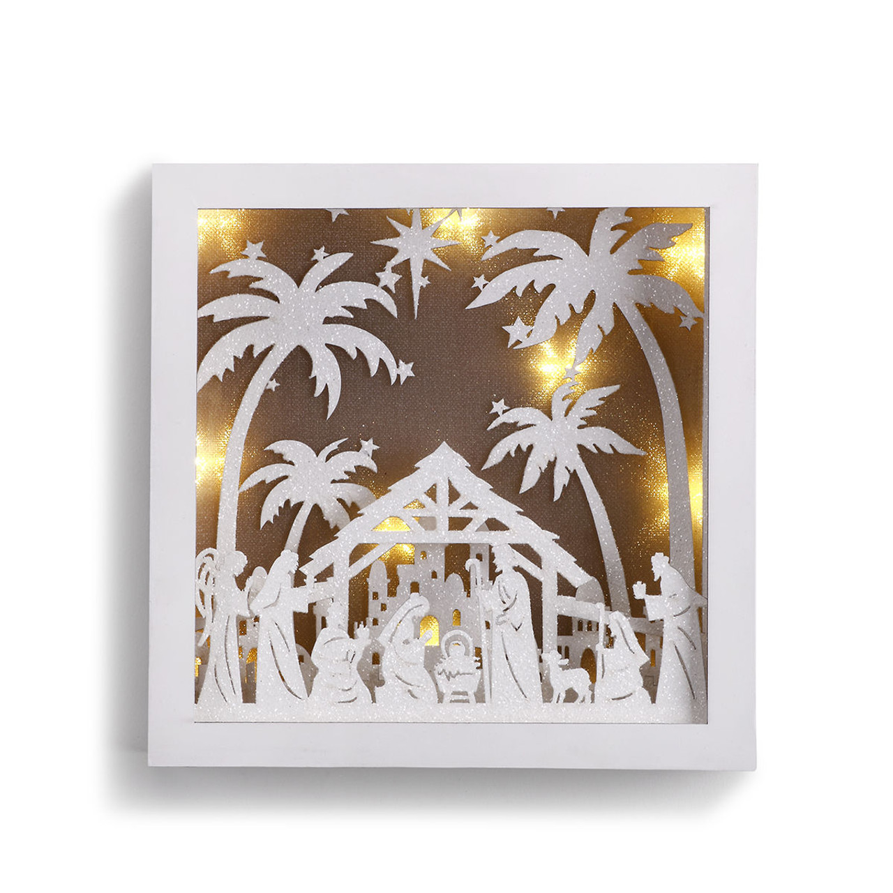Wall Art Credence Nativity Wall Art Box 3 Dimensional Lighted 8