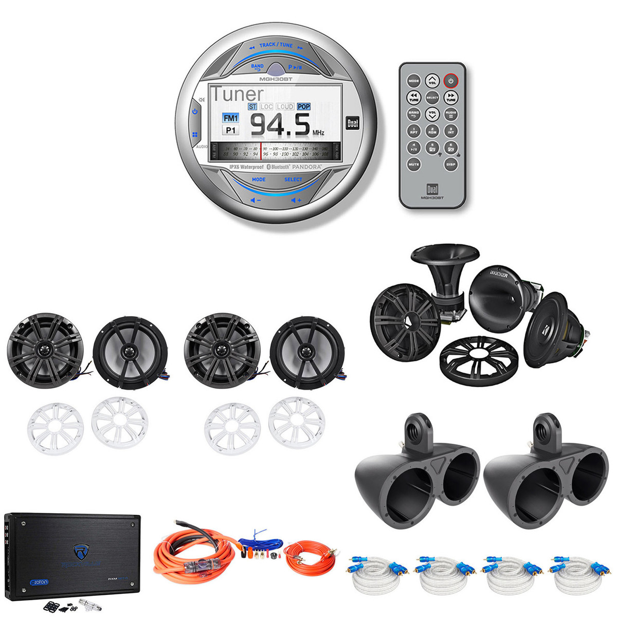 Kmtap Adapter Pack Dual Marine Cd Player 4 Kicker 6 5 Boat Speakers 2 Wakeboards 8 Ch Amp Amp Kit