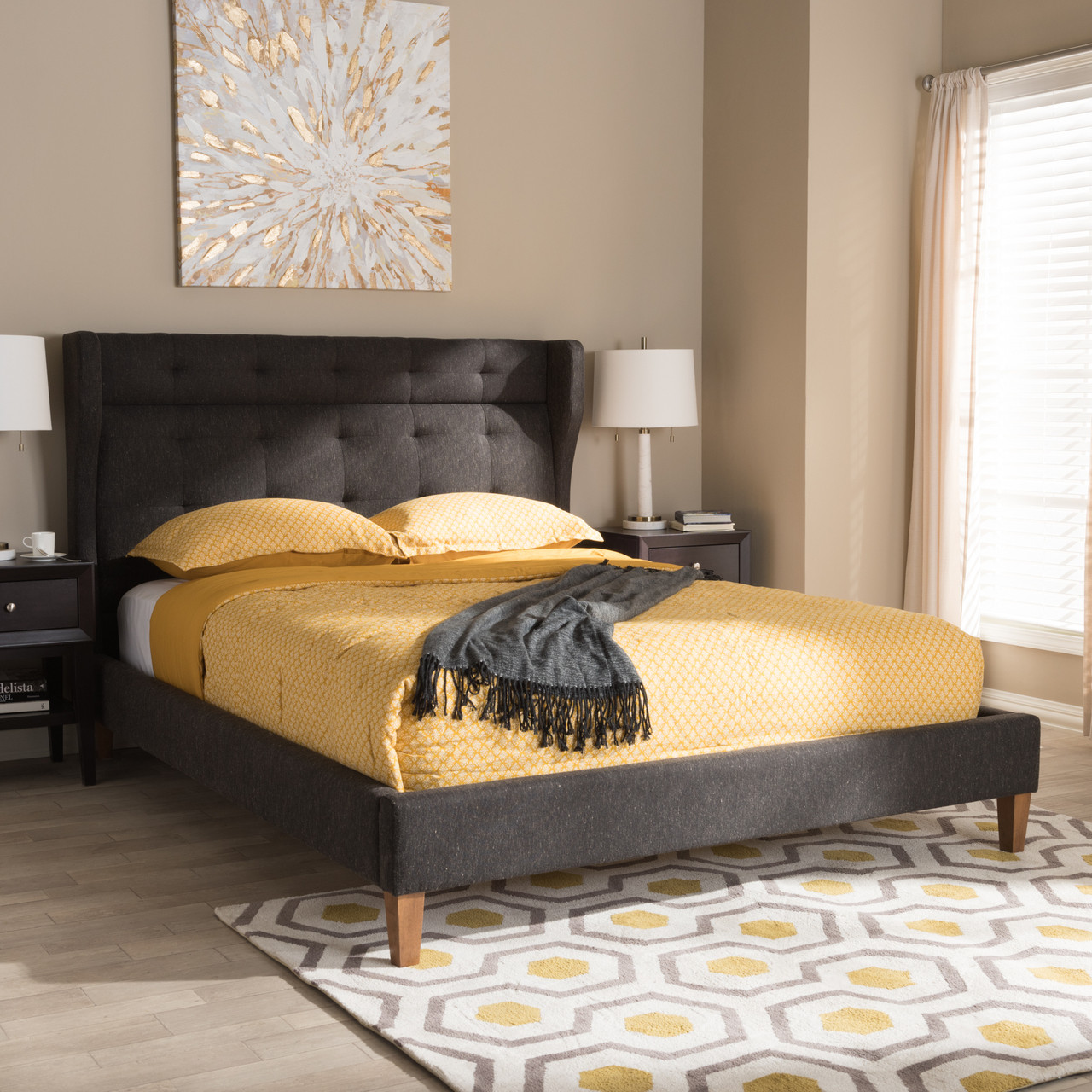 Is A Platform Bed Comfortable Baxton Studio Casper Mid Century Modern Charcoal Grey Fabric Upholstered Platform Bed