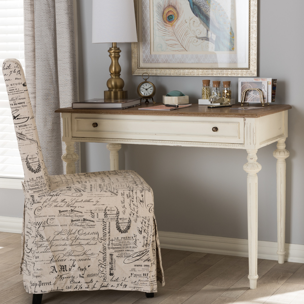 Sofa With French Writing Baxton Studio Marquetterie French Provincial Weathered Oak And Whitewash Writing Desk