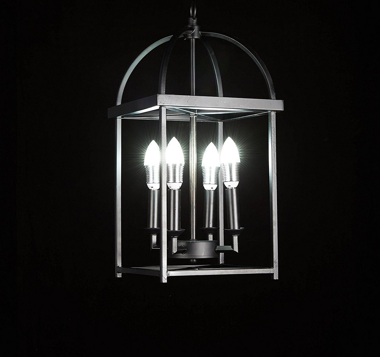Galaxy Lighting New Galaxy Antique Black Finish 4 Light Hanging Lantern Iron Frame Pedant Chandelier