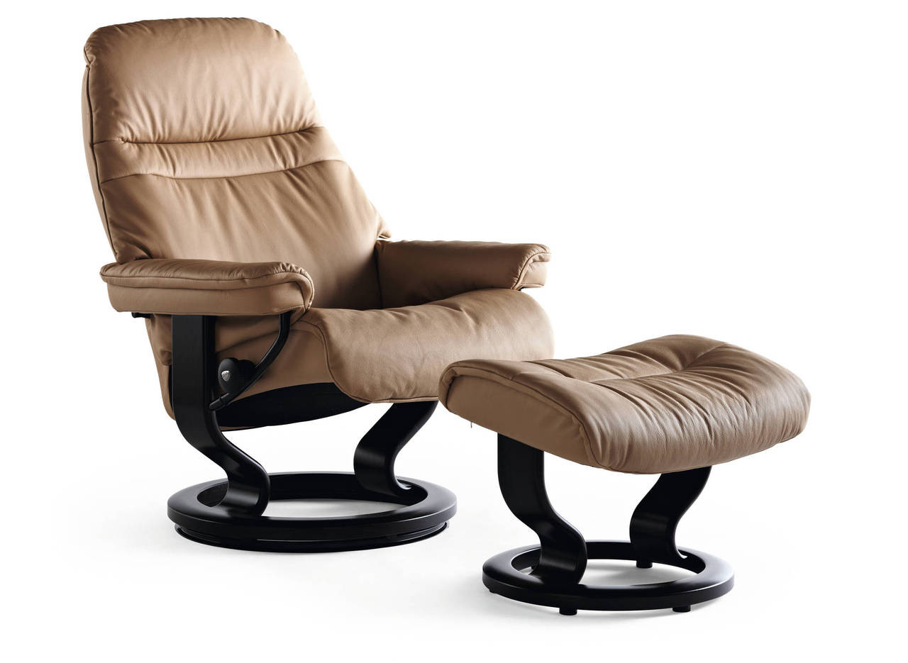 Stresless Stressless Sunrise Medium Recliner With Ottoman Worry Free Delivery