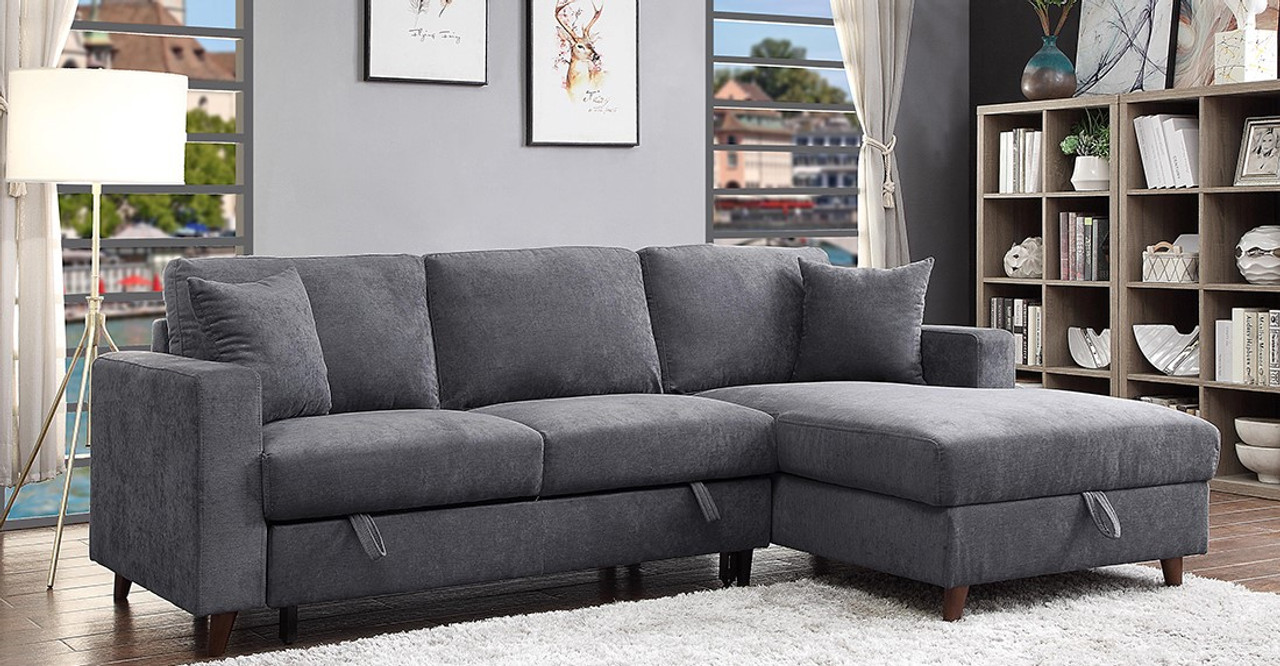 Avril Fabric Right Hand Facing Sofa Bed Sectional With Storage Grey