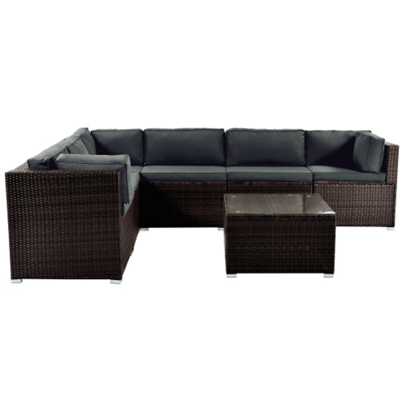 Topmax 7 Piece Patio Furniture Set Outdoor Sectional Conversation Set With Soft Cushions Brown Direct Wicker